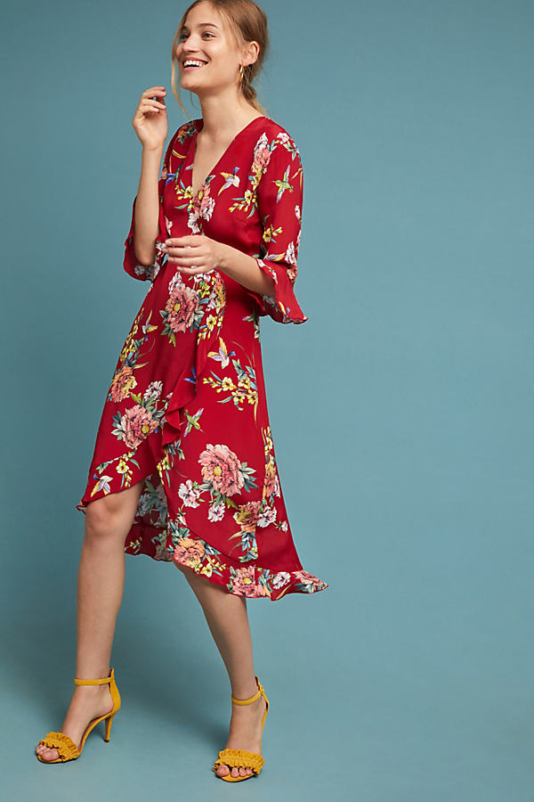 Kachel Ruffle-Printed Wrap Midi Dress - Assorted, Size Uk 8