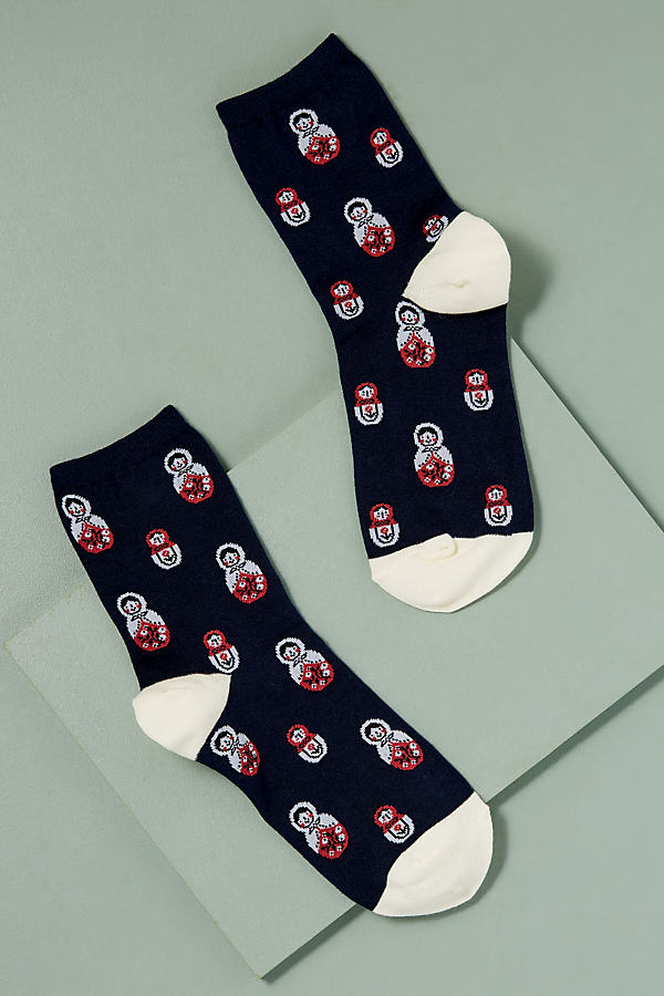 Matryoshka Socks - Navy