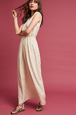 Slide View: 1: Jacquard Silk Maxi Dress