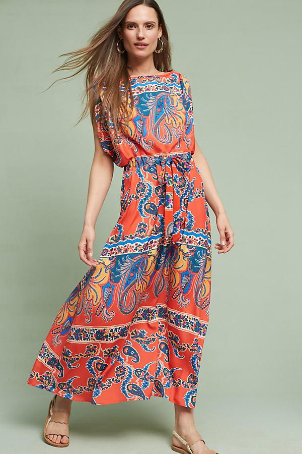 Turin Kimono Dress, Red - Red Motif, Size Xs Petite
