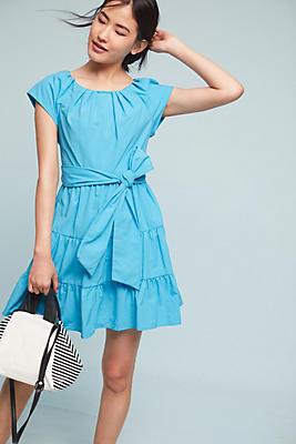 Slide View: 1: Tiered Poplin Swing Dress