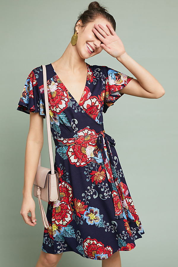 Evelyn Wrap Dress - Navy, Size Xs