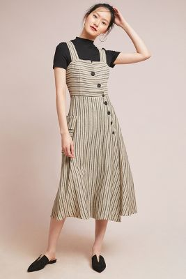 Eva Franco   Striped Utility Midi Dress  -    NEUTRAL MOTIF