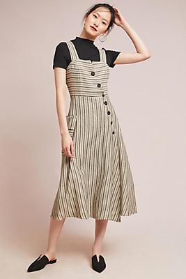 Slide View: 1: Striped Utility Midi Dress