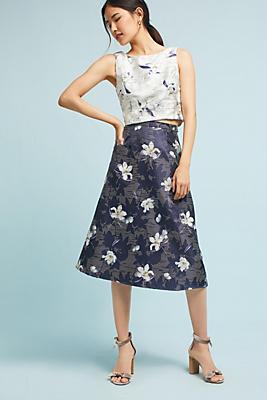 Slide View: 1: Floral Jacquard Top & Skirt Set