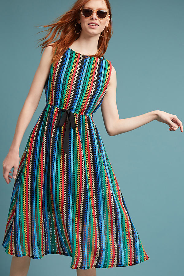 Rainbow Crochet Midi Dress - Blue Motif, Size 14