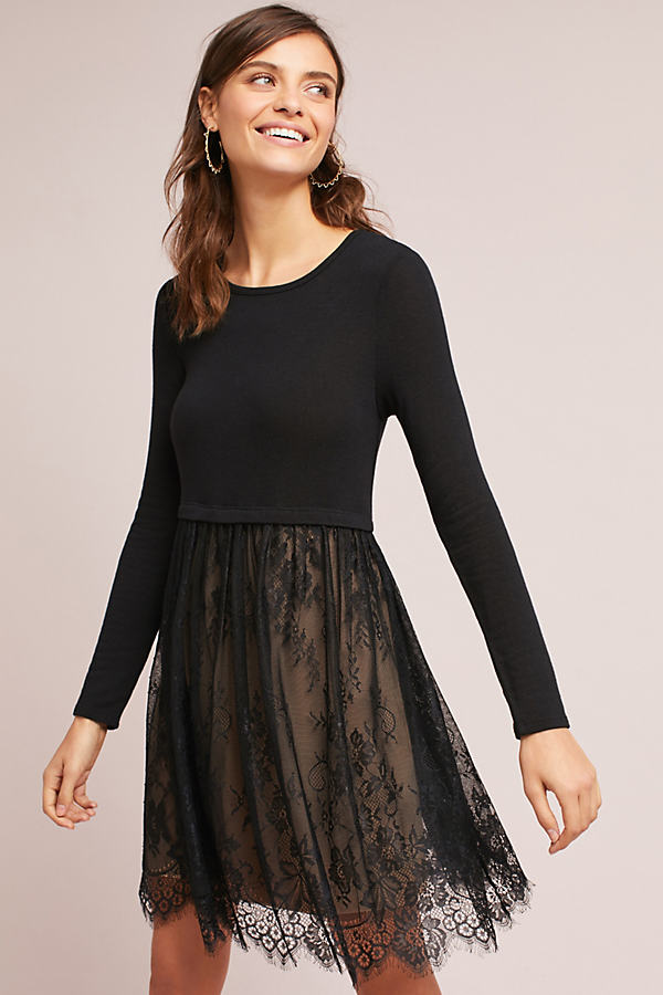 Hadarah Layered Lacework Dress - Black, Size L