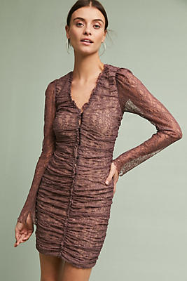 Slide View: 1: Ruched Lace Mini Dress