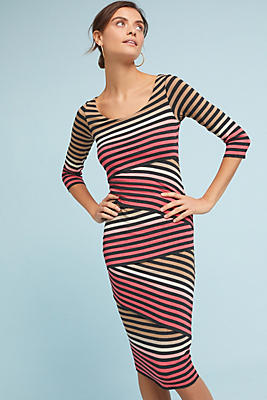 Slide View: 1: Striped-Knit Column Dress