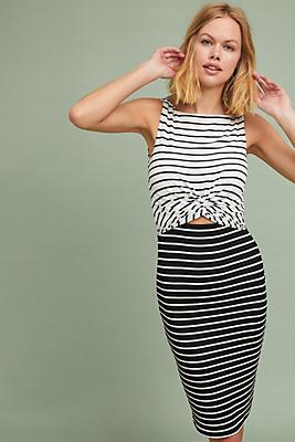 Slide View: 1: Two-Toned Stripe Column Dress