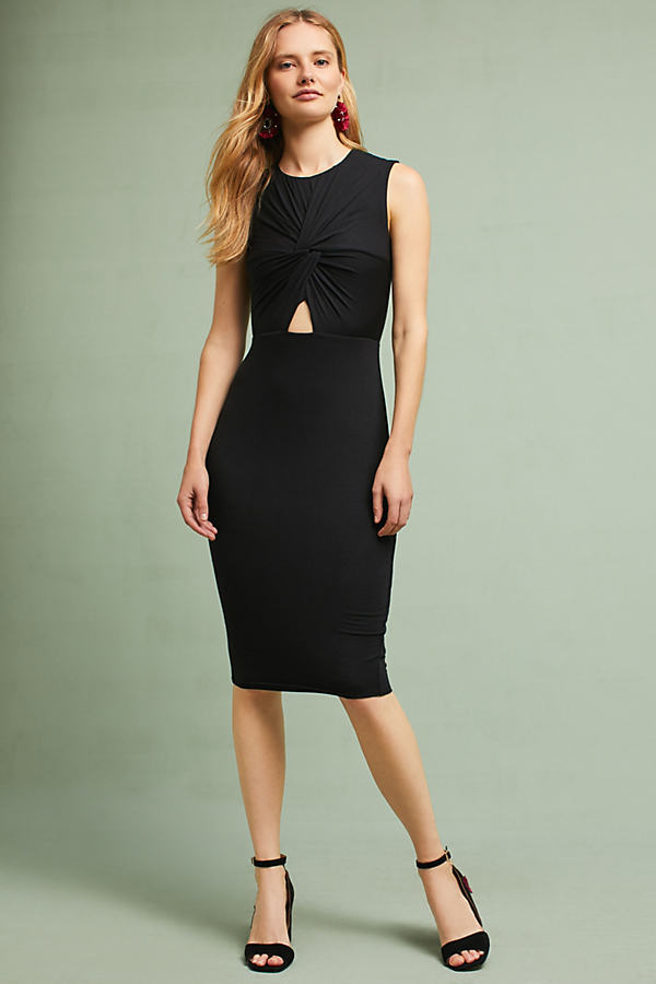 Melda Knotted Cutout Dress - Black, Size Xs