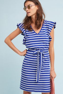 Dolan Left Coast   Flutter-Sleeve Striped Dress  -    BLUE MOTIF
