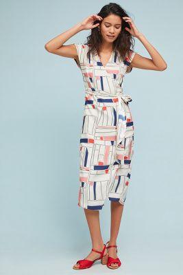 34N 118W   Geometric Silk Wrap Dress  -    NEUTRAL MOTIF