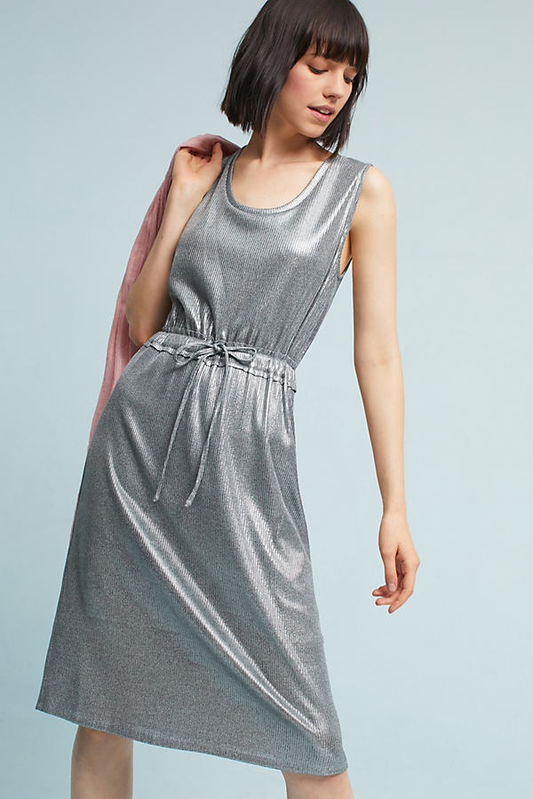 Cadence Metallic Knit Midi Dress, Silver - Silver, Size Xs Petite