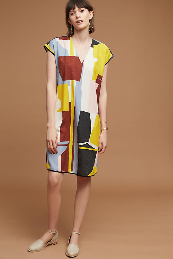 Slide View: 1: Robe tunique en soie Abstract