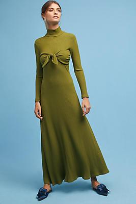 Slide View: 1: Mara Hoffman Ribbed Tie-Front Midi Dress
