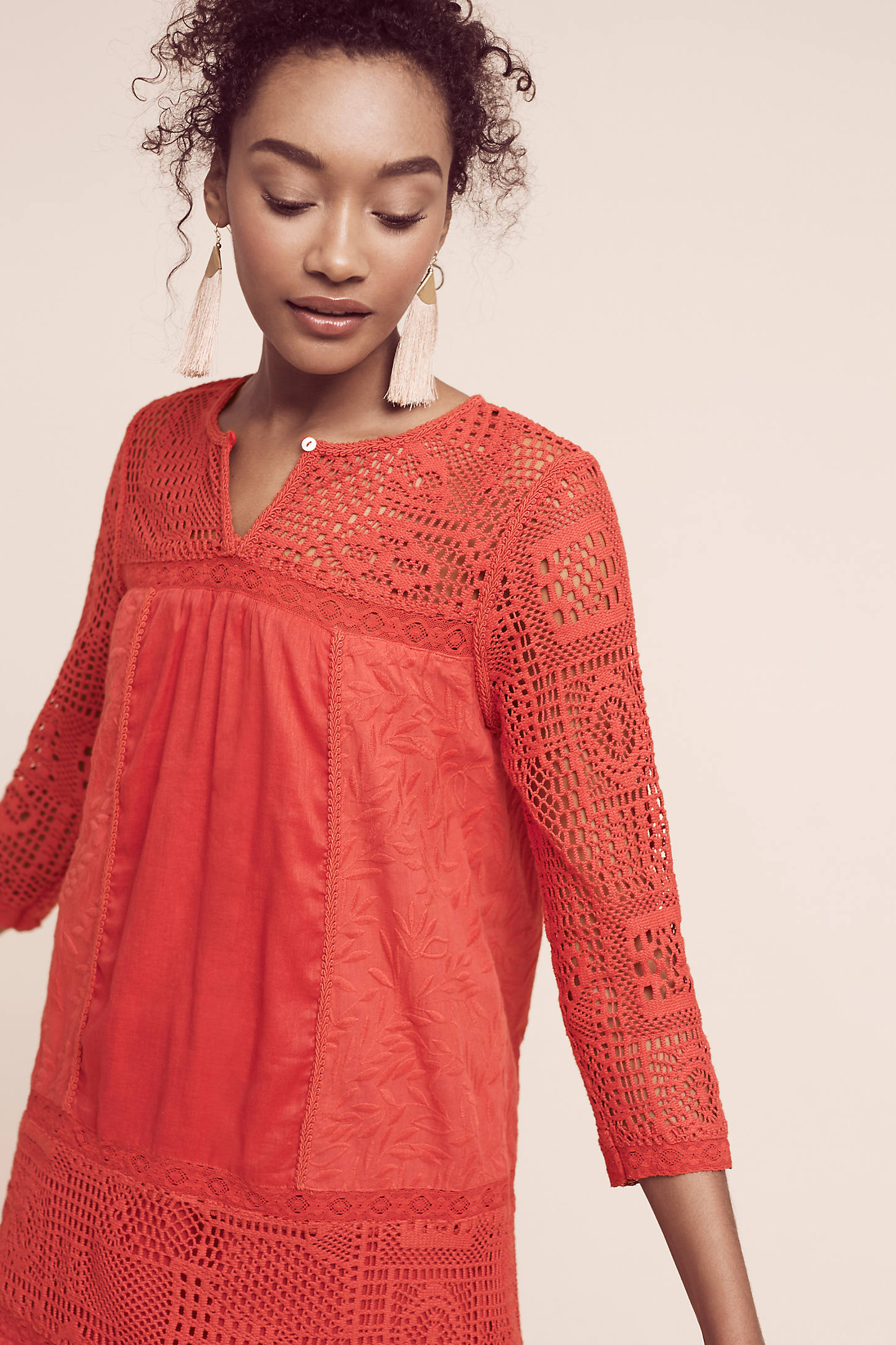 Embroidered Crochet Tunic Dress