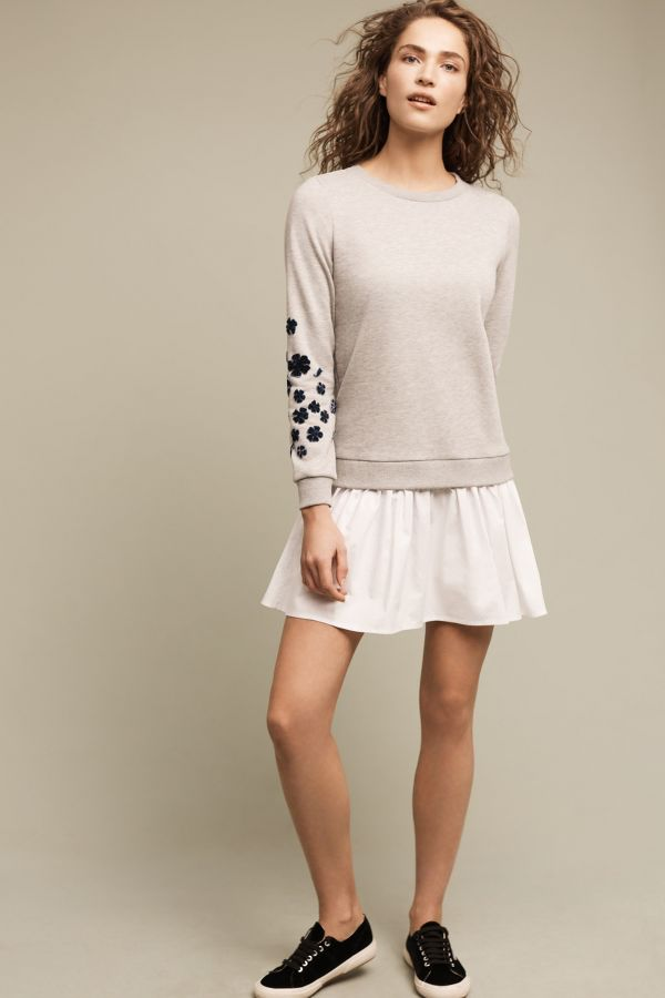 Blue Tassel Petaled Sweatshirt Dress