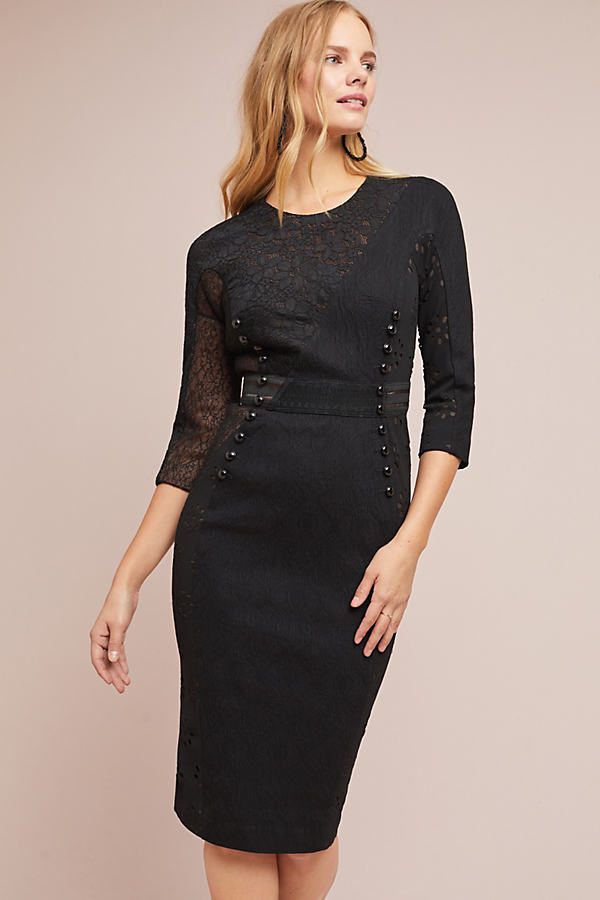 Byron Lars Bettine Column Dress - Black, Size Uk 16