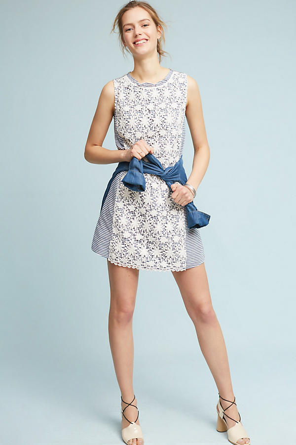 Slide View: 4: Petite Lace-Mix Dress