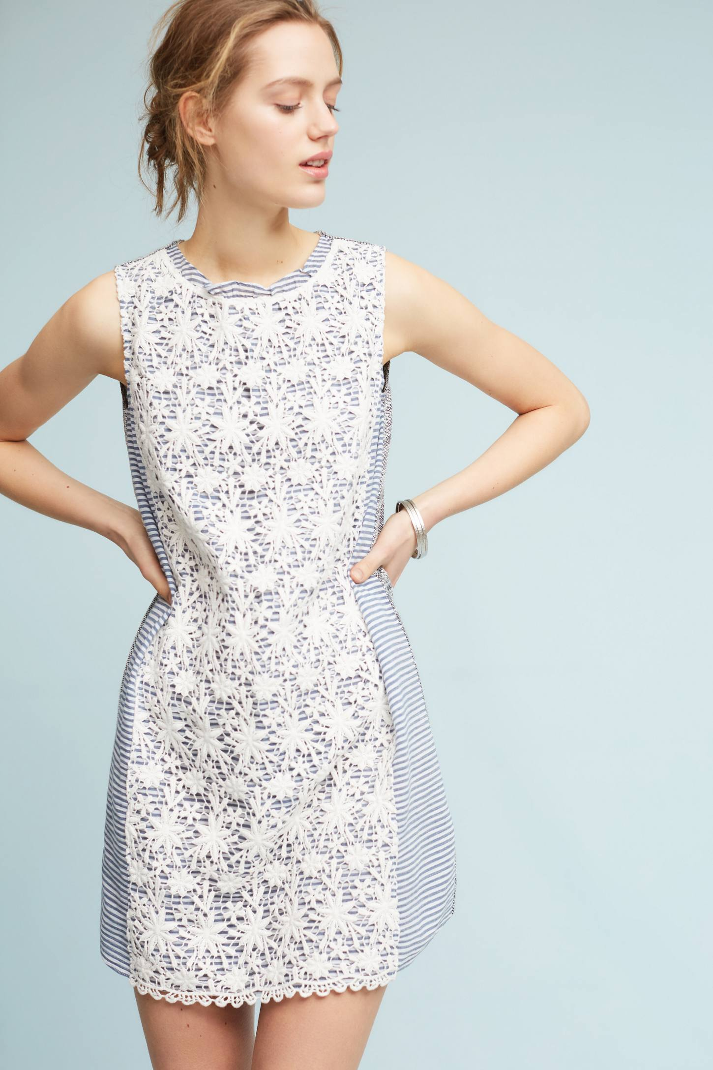 Slide View: 1: Petite Lace-Mix Dress