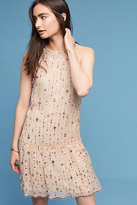 Slide View: 1: Beaded & Sequined Halter Dress
