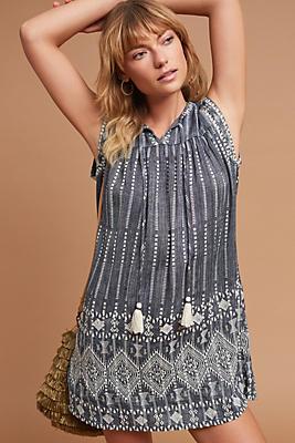 Slide View: 1: Yarn-Dyed Threadwork Dress