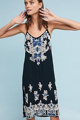 Slide View: 1: Denim Applique Slip Dress