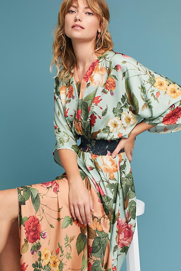 Farm Rio Marilla Maxi Dress - Green Motif, Size Xs