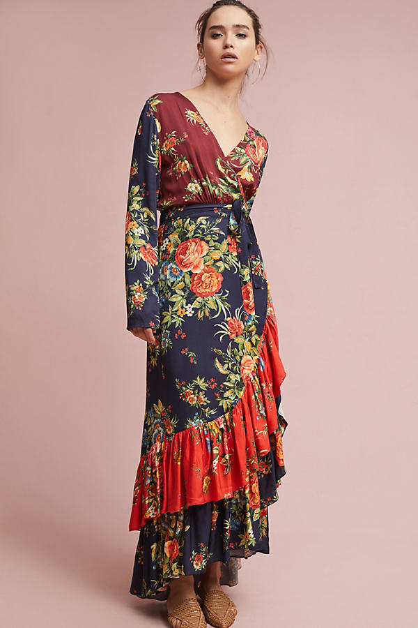 Susannah Floral Wrap Dress - Navy, Size S