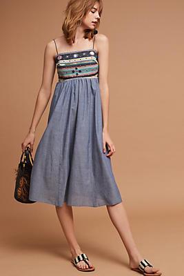 Slide View: 1: Embellished Chambray Midi Dress
