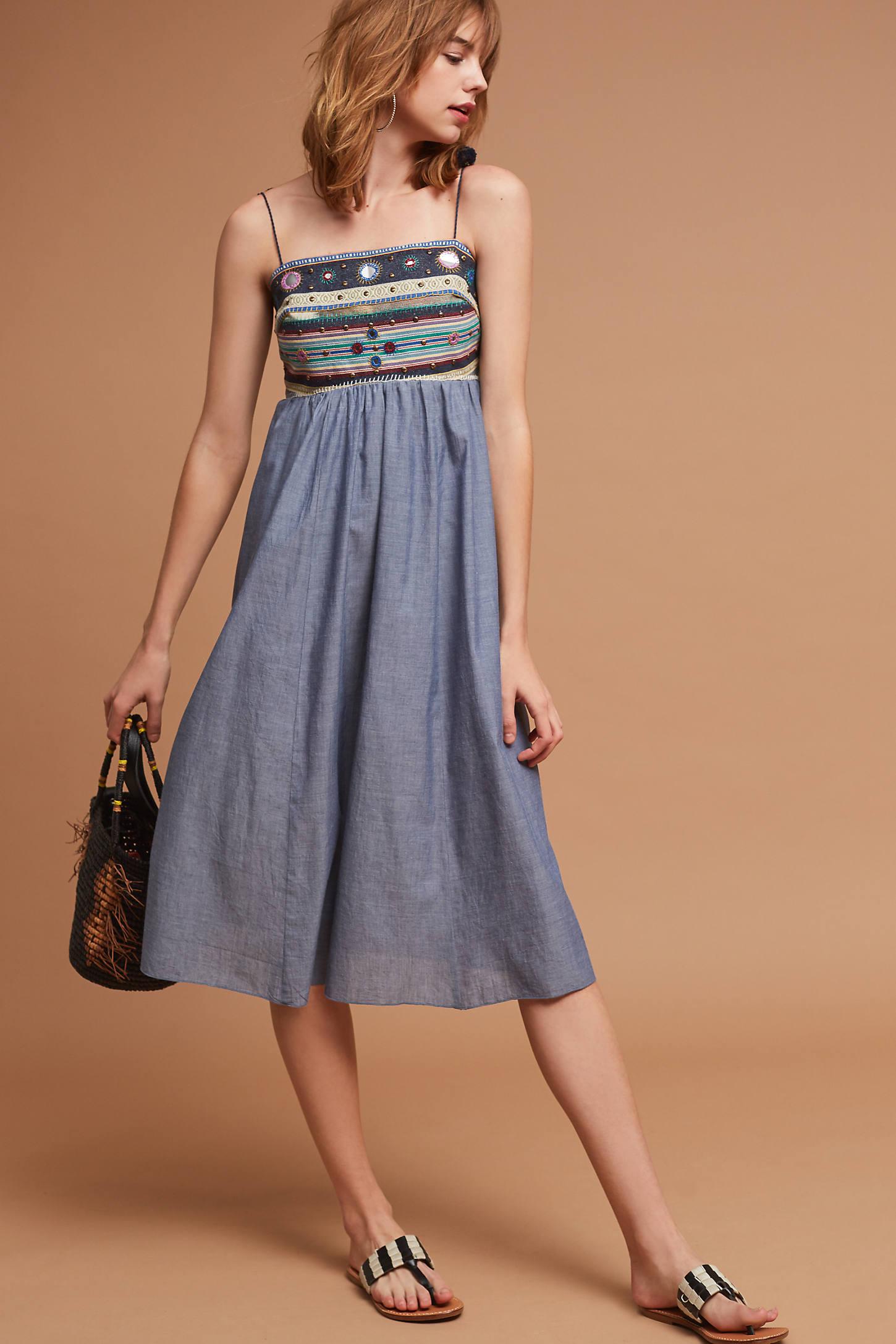 Embellished Chambray Midi Dress