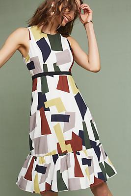 Slide View: 1: Flounced Geometric Dress