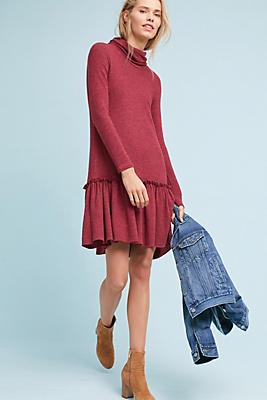 Slide View: 1: Turtleneck Drop-Waist Dress