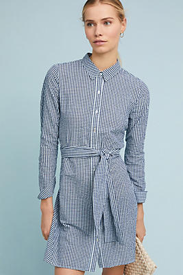 Slide View: 1: Belted Gingham Shirtdress