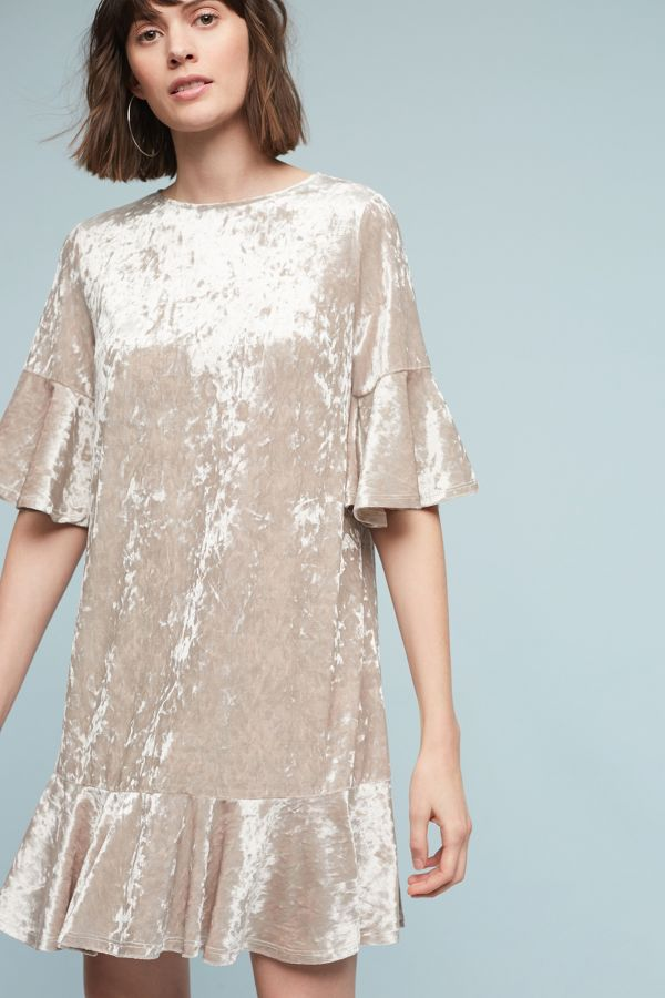 Sunday In Brooklyn Velvet Flutter Dress