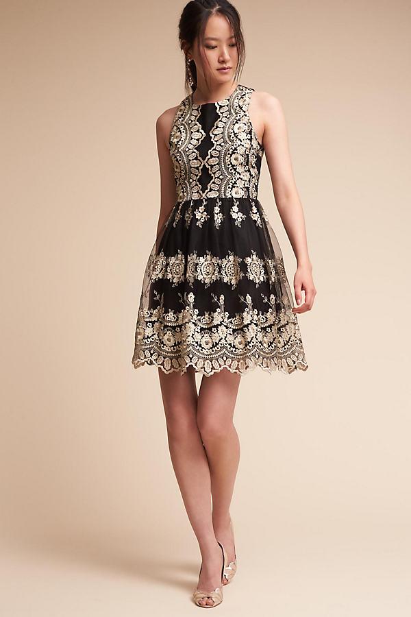 Flourish Dress - Black Motif, Size Uk 12