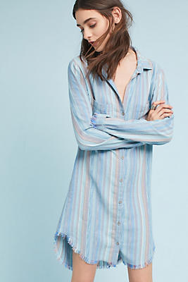 Slide View: 1: Cloth & Stone Raw-Hem Shirtdress