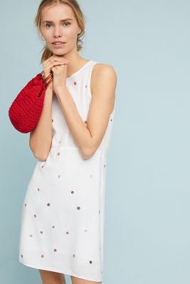 Cloth & Stone   Cloth & Stone Polka Dot Seamed Dress  -    WHITE