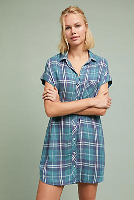 Slide View: 1: Cloth & Stone Plaid Shirtdress