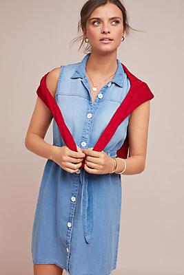Slide View: 1: Cloth & Stone Belted Denim Shirtdress
