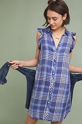 Slide View: 1: Cloth & Stone Parisa Plaid Shirtdress