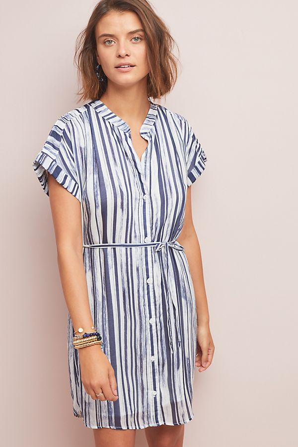 Slide View: 1: Cloth & Stone Riley Striped Shirtdress