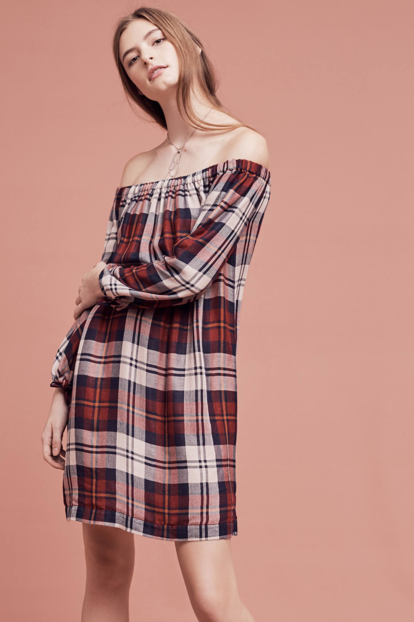 Slide View: 2: Plaid Off-The-Shoulder Tunic Dress