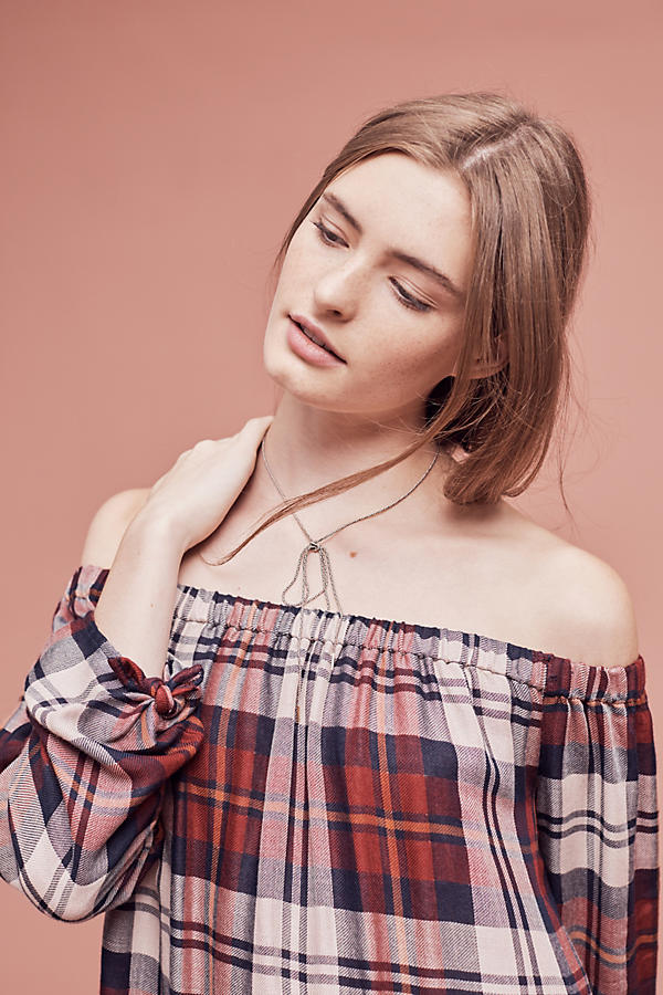 Slide View: 3: Plaid Off-The-Shoulder Tunic Dress