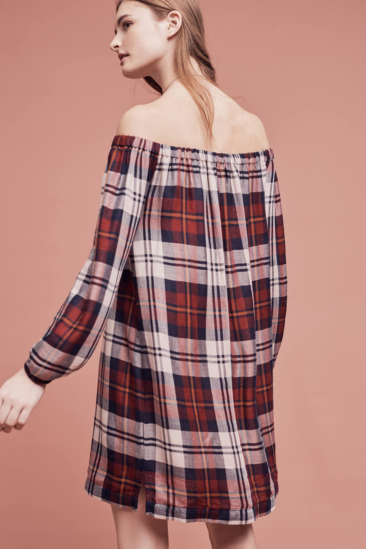 Slide View: 4: Plaid Off-The-Shoulder Tunic Dress