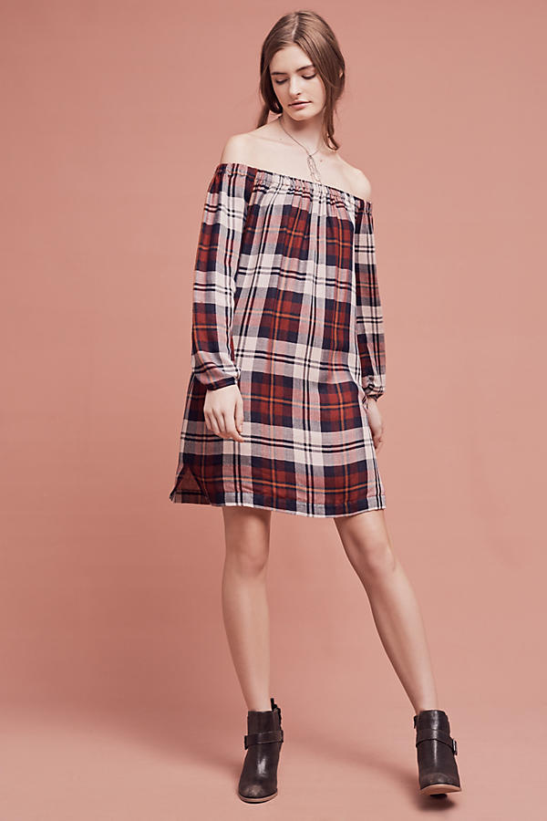 Slide View: 1: Plaid Off-The-Shoulder Tunic Dress