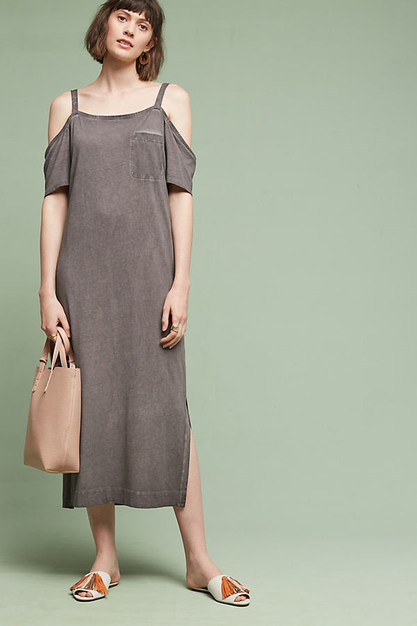 Hilde Midi Dress - Taupe, Size L