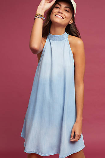 Chambray High-Neck Swing Dress