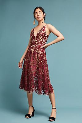Slide View: 1: Sequined Floral Dress